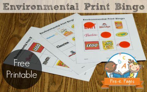Environmental Print Bingo: Free Printable Game for Preschool and Kindergarten