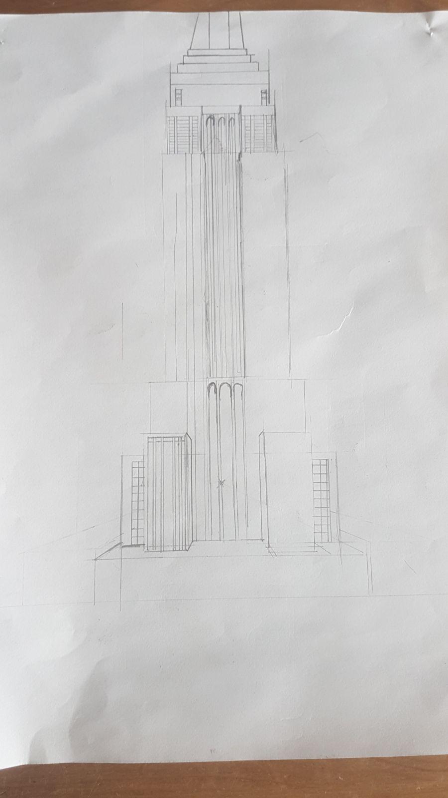 tekening empire state building