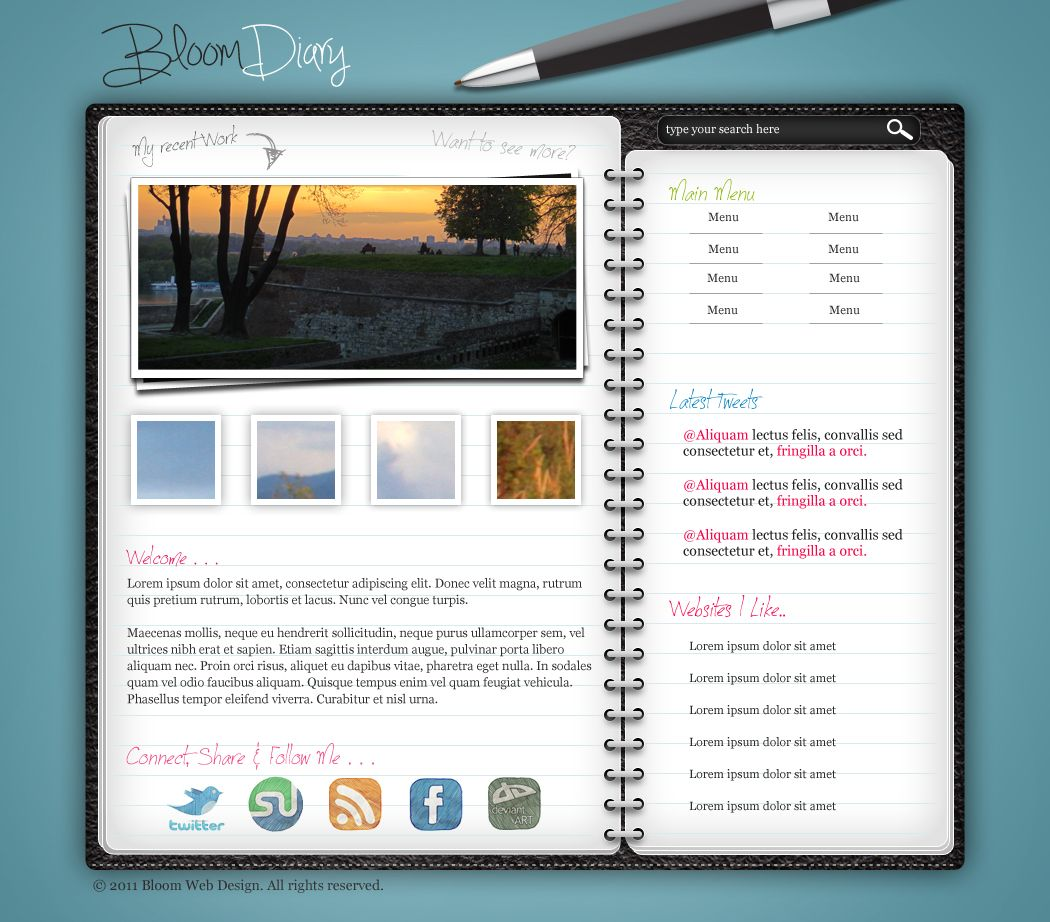Design a diaryjournal web layout in photoshop photoshop diary website layout photoshop tutorial template photoshop templates baditri Image collections