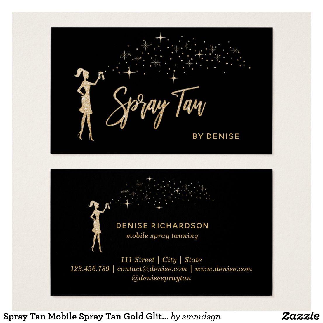 Spray Tan Mobile Spray Tan Gold Glittering Girl Business Card Mobile Spray Tanning Spray Tanning Spray