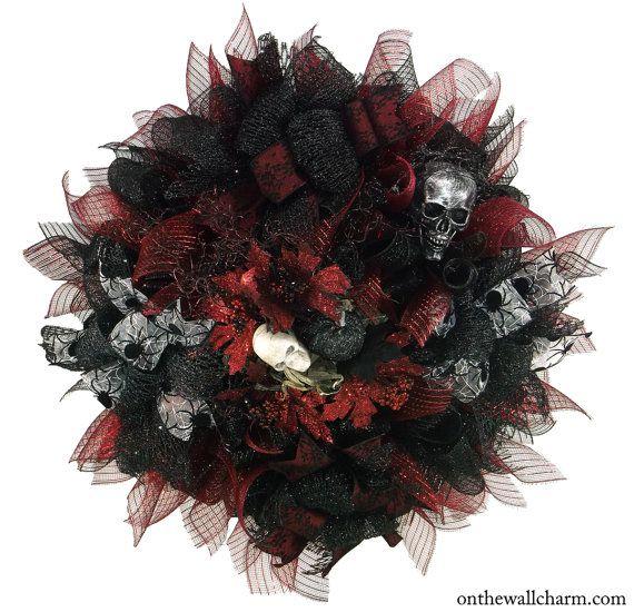 XL Burgundy and Black Halloween Deco Mesh by OnTheWallCharm