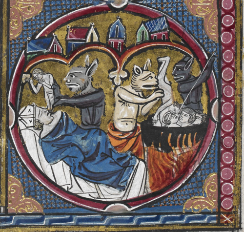 * Detail of a medallion with souls being taken by demons and placed in a cauldron, from a Bible moralisée, France (Paris), 2nd quarter of the 13th century, Harley MS 1526, f. 21r