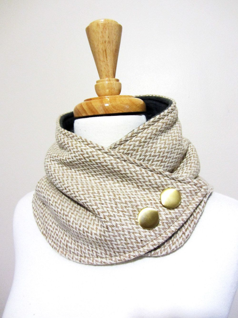 Herringbone Neck Warmer Scarf in Tan and White with Gold Buttons ...