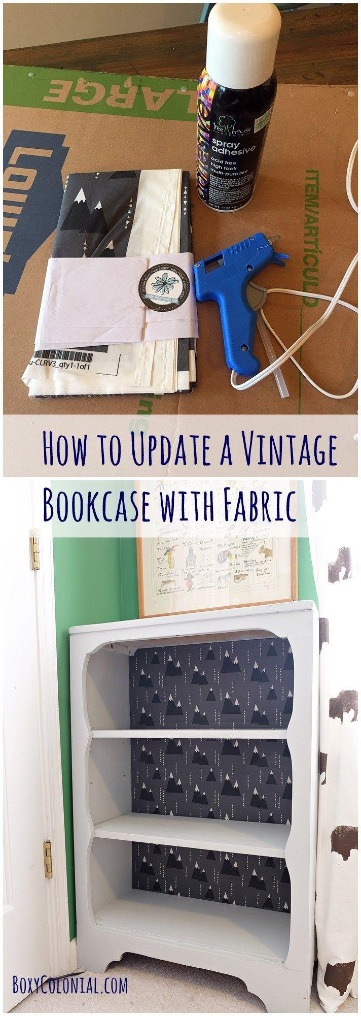 How to Make Over a Vintage Bookshelf with Fabric - #furnitureredos
