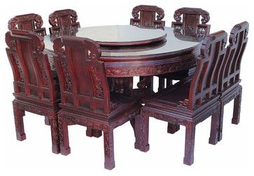 Chinese Rose Wood Flower Carving Round Dinning Table Set 8 Chairs
