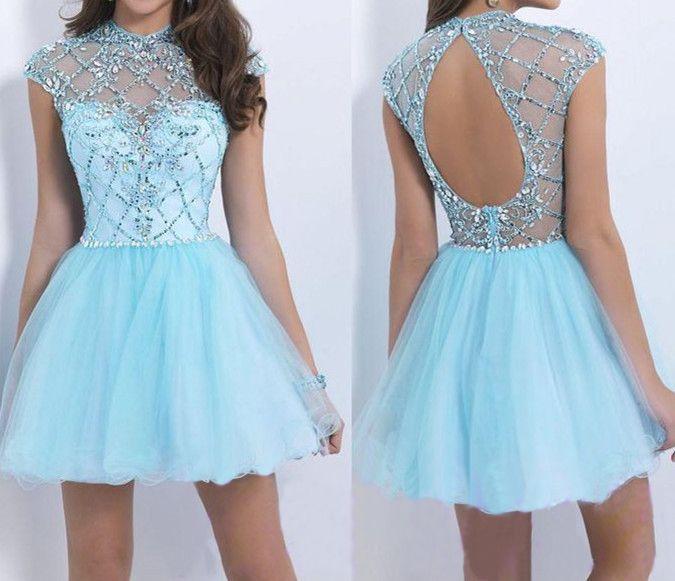 Juniors Short Formal Blue Dress