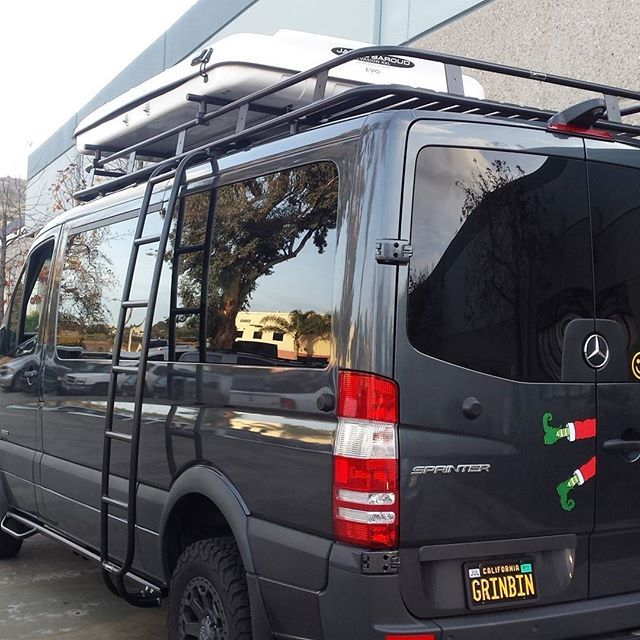 built Sprinter with Aluminess roof rack ladder and nerf bars. Rooftop tent for extra fun & el_kapitan_vans built Sprinter with Aluminess roof rack ladder ...