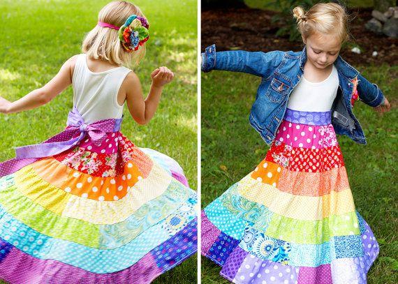 RAINBOW Dress Boho Dress Flower Girl Dress Girls Maxi Dress ...