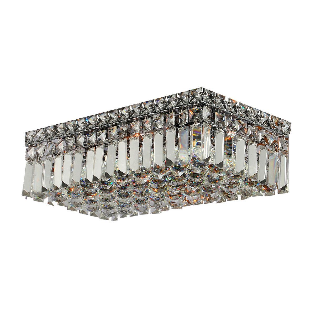 """Contemporary 16"""""""" Rectangle Shape 4 Light Chrome Canopy and Cluster of Crystal Balls Ceiling Flush Mount Medium"""