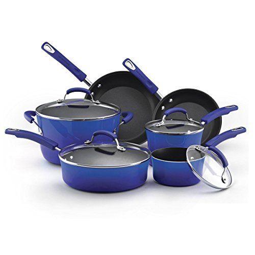 Premium Ocean Blue Cookware Set 10 Piece RACHAEL RAY