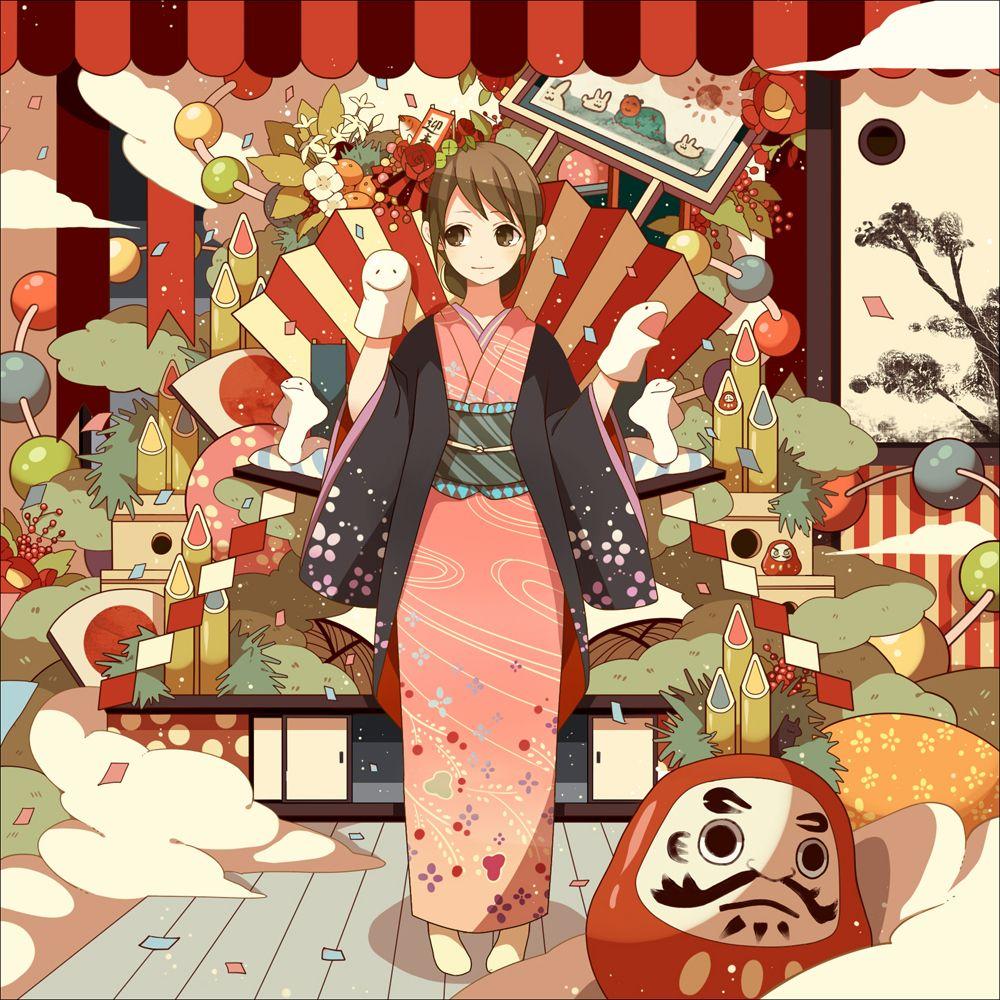 Anime Characters Kimono : Anime girl in kimono with daruma pretty style pics