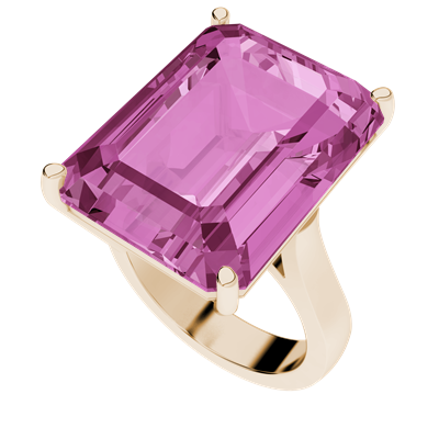 StyleRocks Pink Sapphire Emerald Cut Sterling Silver Cocktail Ring - I TERYTQe