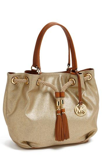 4a66718e8638 $248, Michl Michl Kors Large Canvas Drawstring Tote Gold by MICHAEL Michael  Kors. Sold