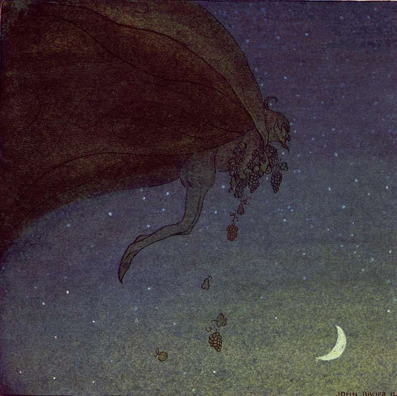 """""""He plucked the most luscious fruits and flew back to Alvida's window."""", illustration from """"The Magician's Cape"""" tale, """"Swedish fairy tales"""", by Elsa Olenius, Holger Lundbergh (trad), 1974 ; illustration by John Bauer (originally published in """"Bland Tomtar Och Troll"""")"""