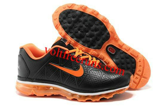 cheap for discount 6c8d6 ab92e K6470 Nike Air Max 2011 Leather Men s Black-Total Orange  Black  Womens   Sneakers