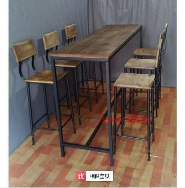 American Village estilo loft hierro forjado mesas y sillas