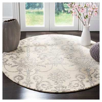 5 Round Floral Tufted Round Area Rug Ivory Gray Safavieh Round Area Rugs Rugs Colorful Rugs
