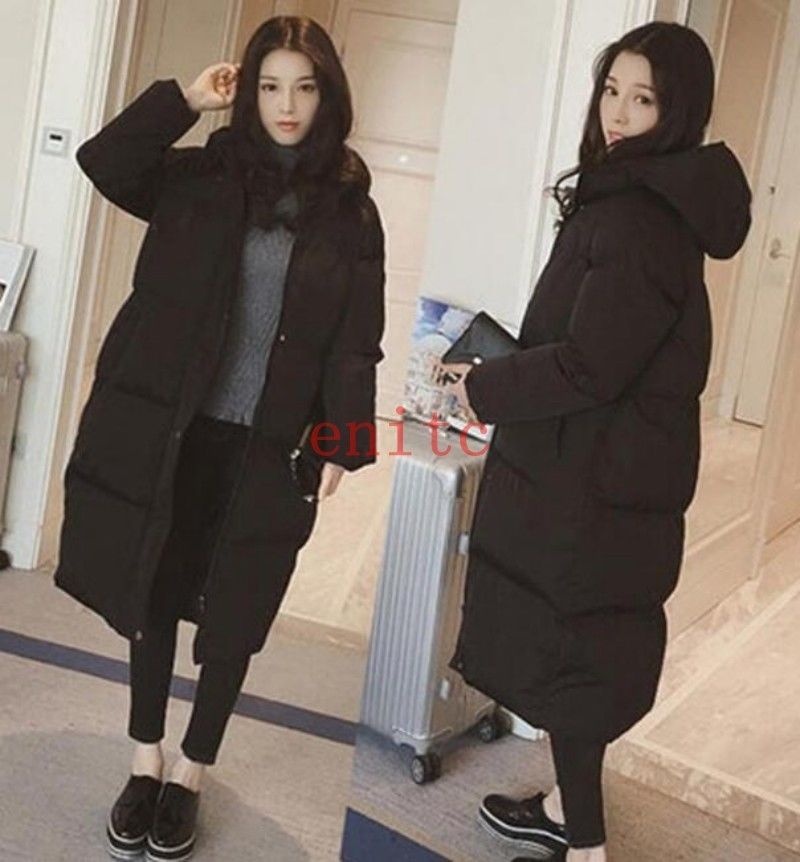 c93ead9b8 Fashion Korean Cotton Blend Padded Jacket Hooded Loose Womens Long ...