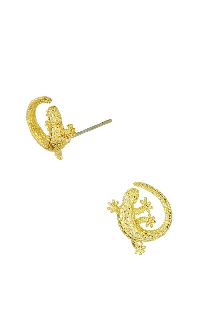 Lilly Pulitzer Leaping Lizards Earring  Gold Metallic