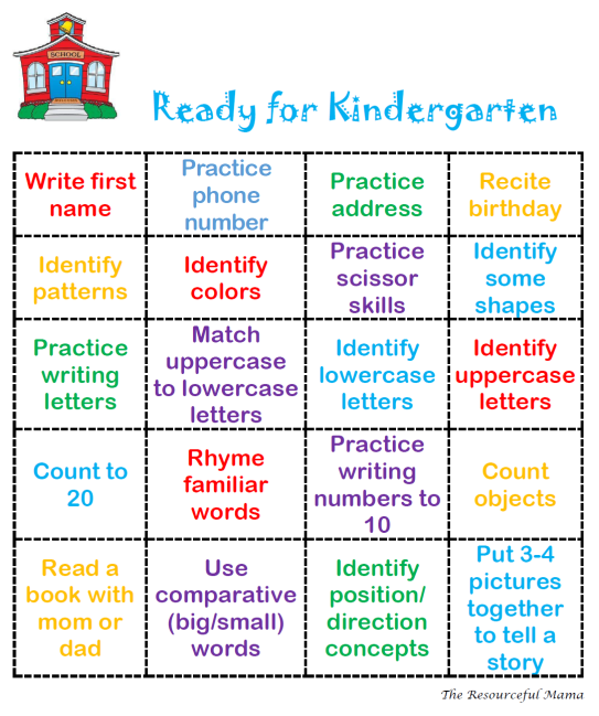 Ready For Kindergarten Bingo Kindergarten Readiness