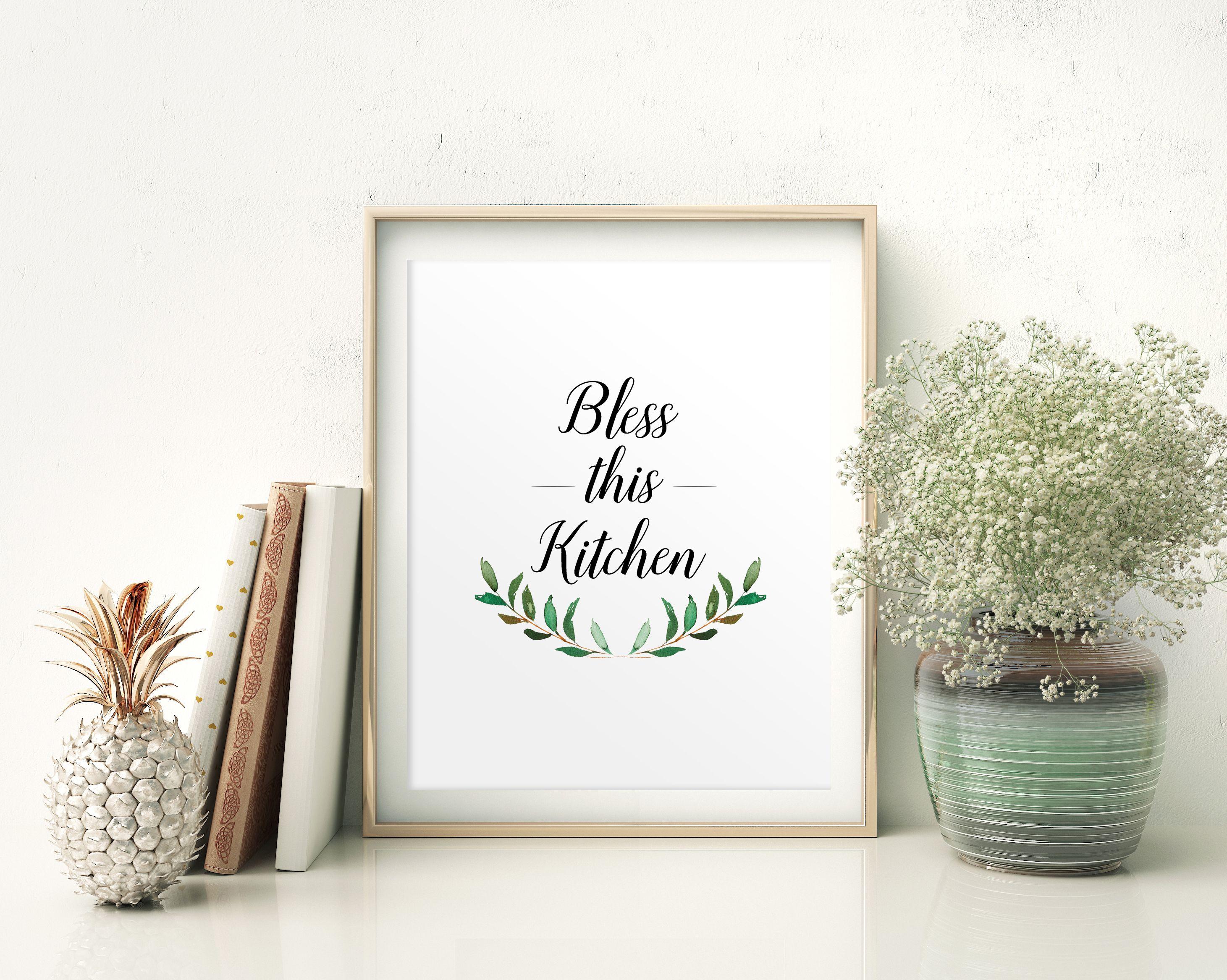 Wall decor bless printable bless prints bless sign bless kitchen art