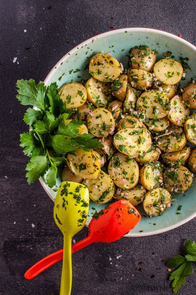 My chimichurri potato salad is packed with flavor from the fresh herbs and garlic! It's the perfect easy to prepare side dish and is ideal for those who do not like creamy potato salad.