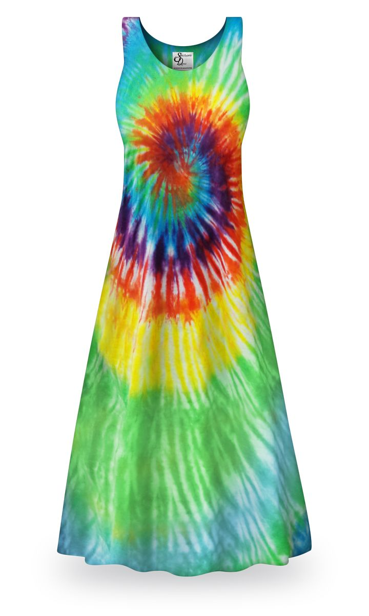 SUNDRESS BEACHWEAR TIE DYE HORIZONTAL STRIPE SMOCK  M L XL ASSORTED COLORS