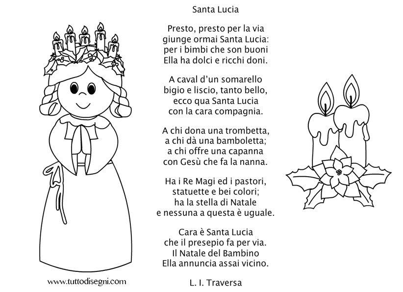 La Stella Di Natale Poesia.Poesia Santa Lucia Santa Lucia St Lucy Filastrocche Schede