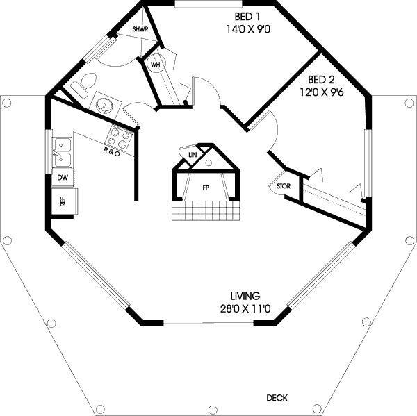 Modern Style House Plan 2 Beds 1 Baths 696 Sq Ft Plan 60 104 Octagon House Round House Plans Modern Style House Plans