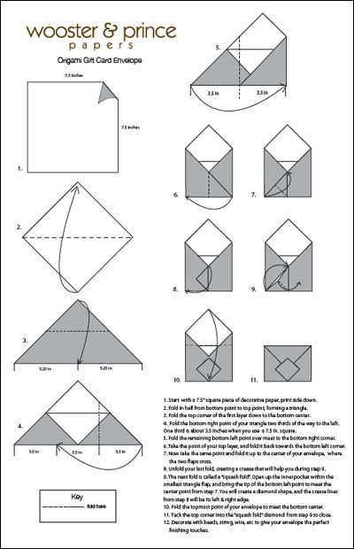 Origami Gift Card Instructions