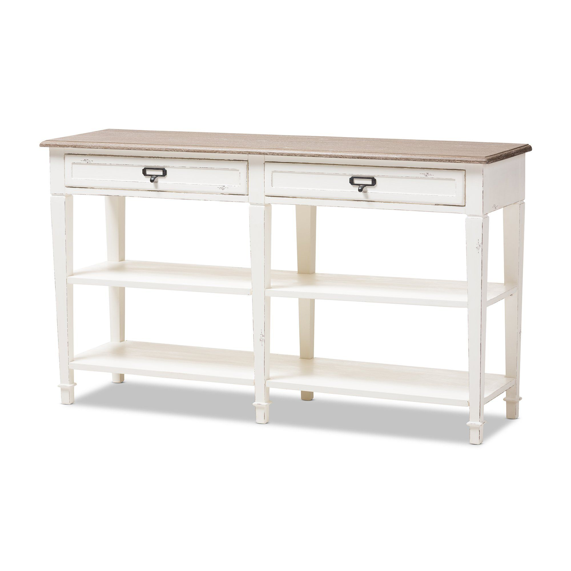 Baxton Studio Dauphine Oak U0026 White Wash Wood Console Table
