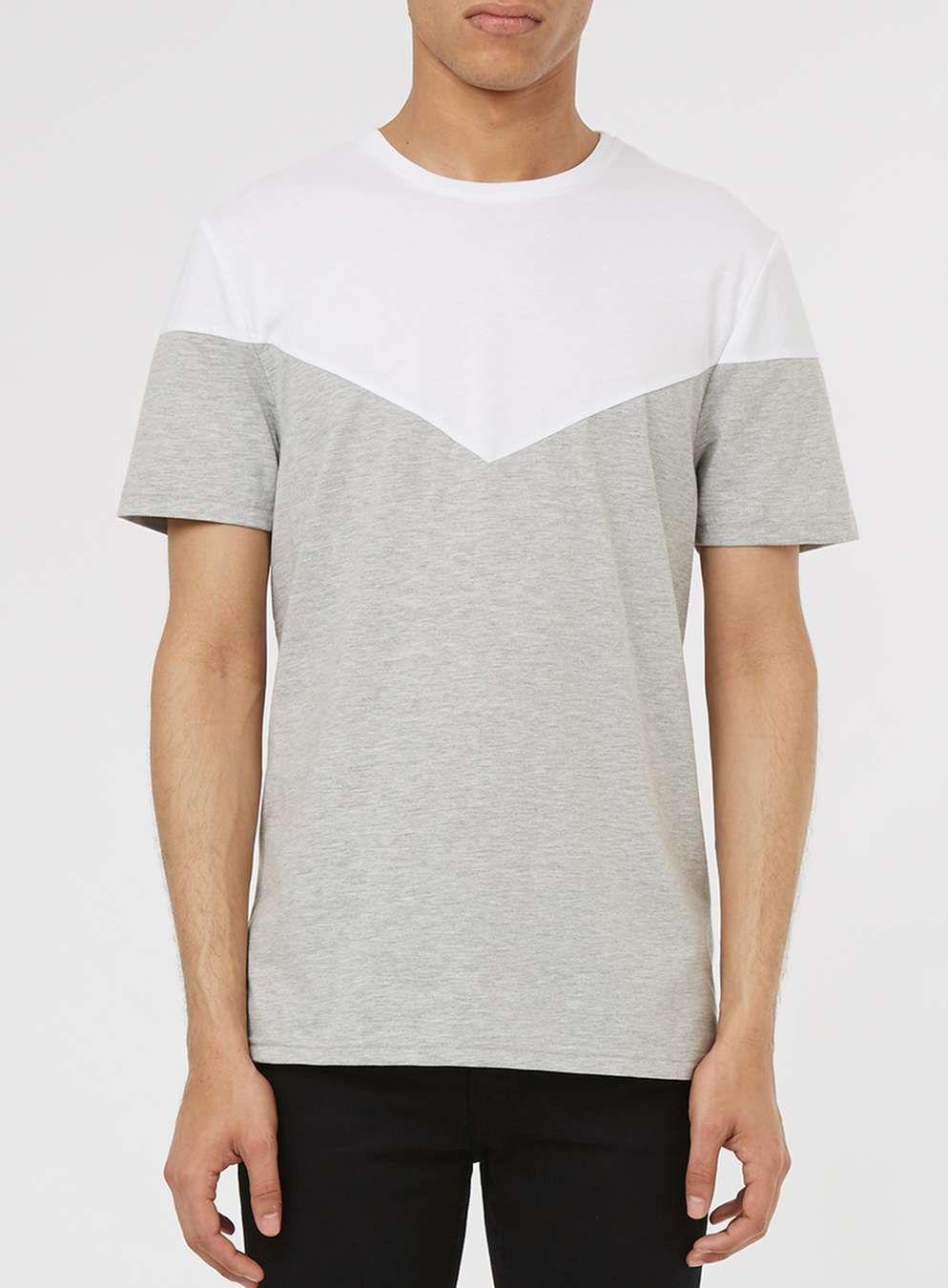 White and Grey Chevron T-Shirt - Topman