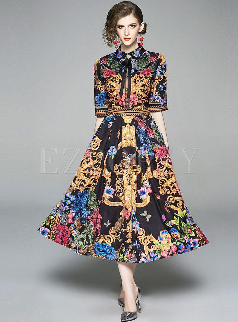 Vintage Print Lapel Half Sleeve Maxi Dress Midi Short Sleeve Dress Maxi Dress With Sleeves Vintage Maxi Dress [ 1066 x 789 Pixel ]