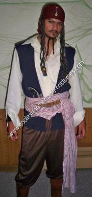Coolest Homemade Captain Jack Sparrow Halloween Costume Idea