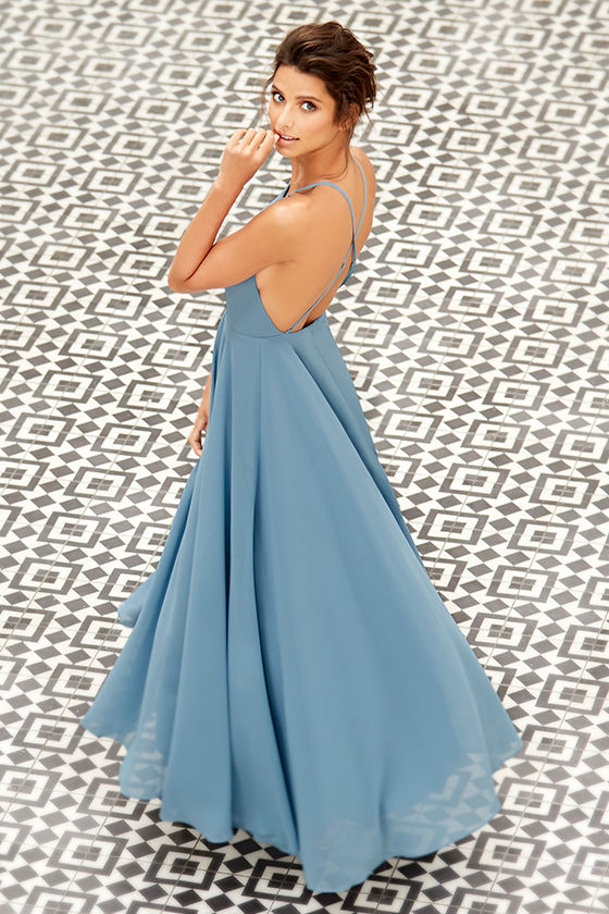 ee60c55ed86 Lulus Exclusive! The Mythical Kind of Love Slate Blue Maxi Dress is simply  irresistible in every single way! Lightweight Georgette forms a fitted  bodice ...