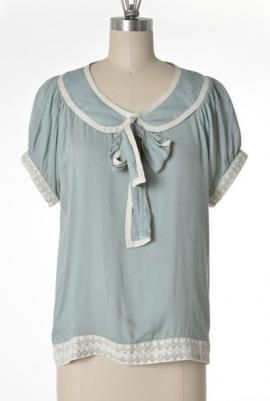 Good Girl Charm Peter Pan Collar Tieneck Blouse in Mint - 100% Rayon - by Comme Toi