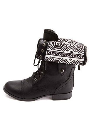1c96d42d3c2c7 Tribal-Lined Fold-Over Combat Boots  Charlotte Russe - http