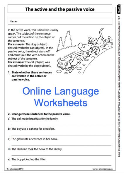 grade 5 online english language worksheet active and passive voice for more worksheets visit. Black Bedroom Furniture Sets. Home Design Ideas