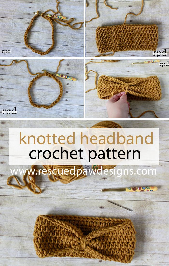 Knotted Headband, free crochet pattern in multiple sizes by Rescued Paw Designs #lionbrandyarn #diy #tutorial