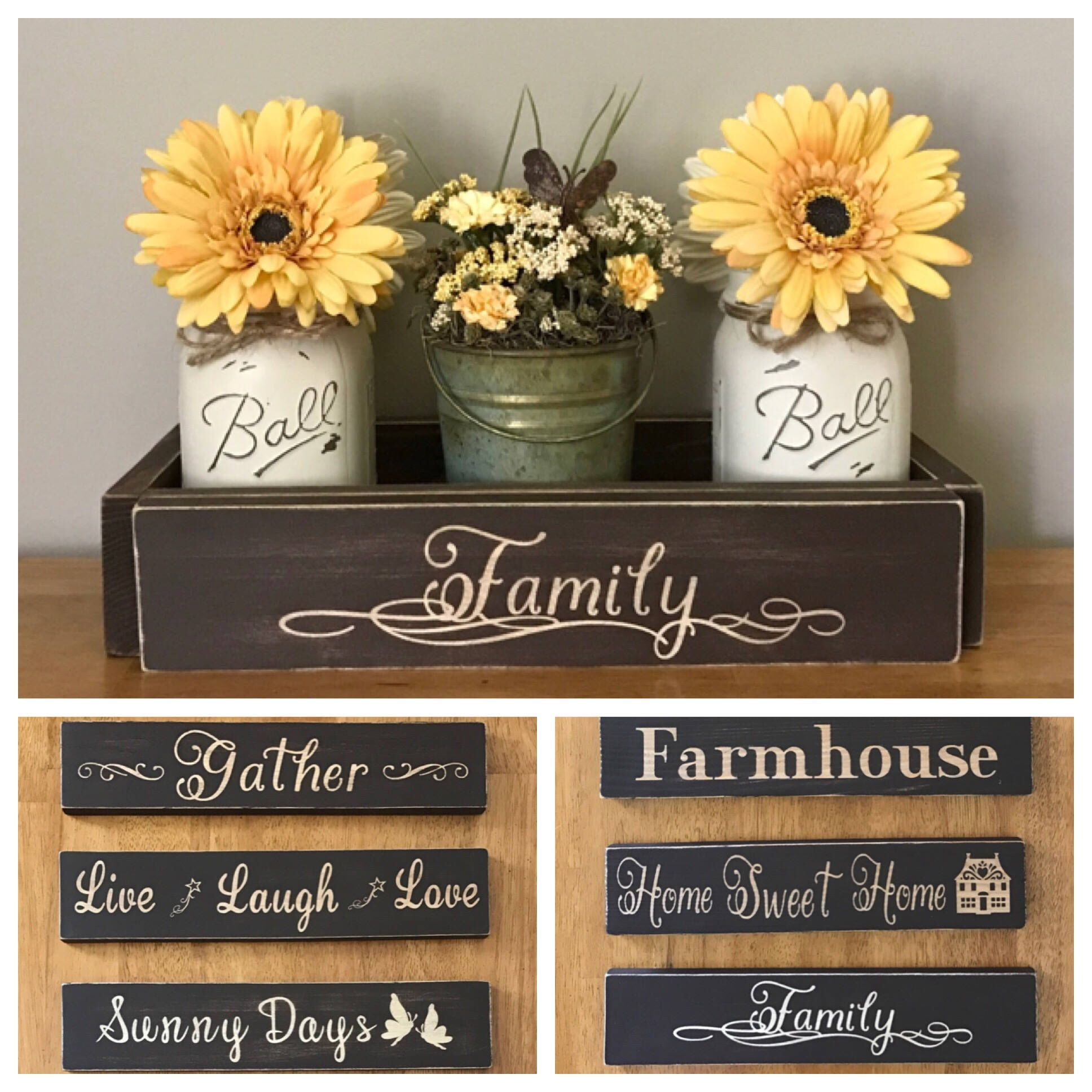 A Personal Favorite From My Etsy Shop Https Www Etsy Com Listing 526072383 Dining Tab Dining Table Centerpiece Mason Jar Centerpieces Sunflower Kitchen Decor