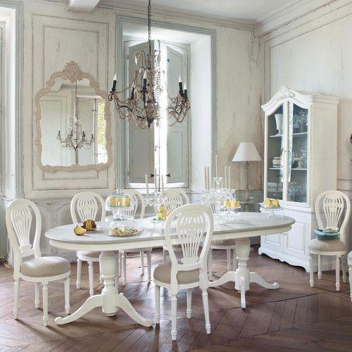 Miroir classique en bois beige H 146 cm CHLOÉ Idées Déco Salon