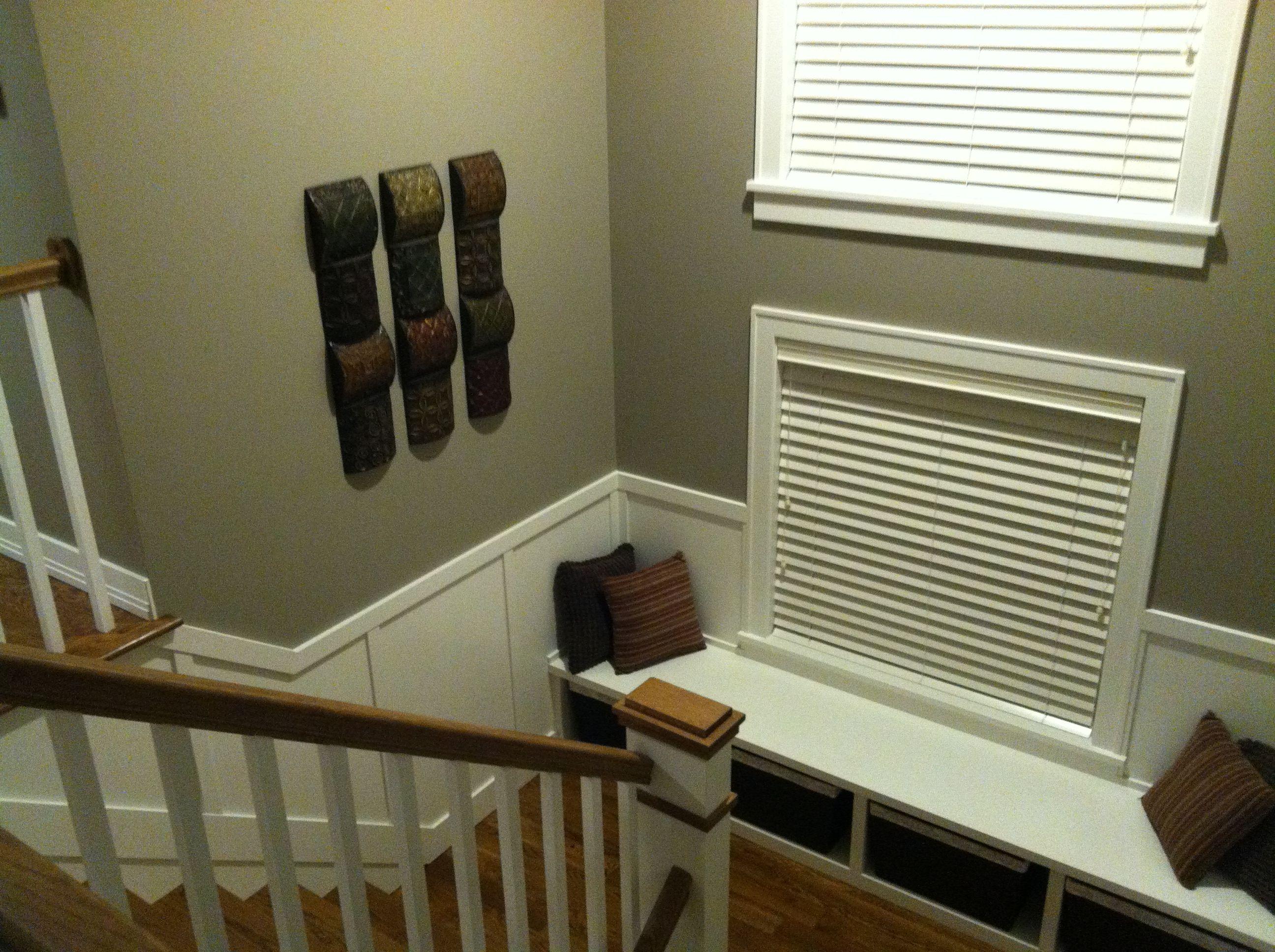 Staircase Landing Pewter Paint Dark Hardwood White