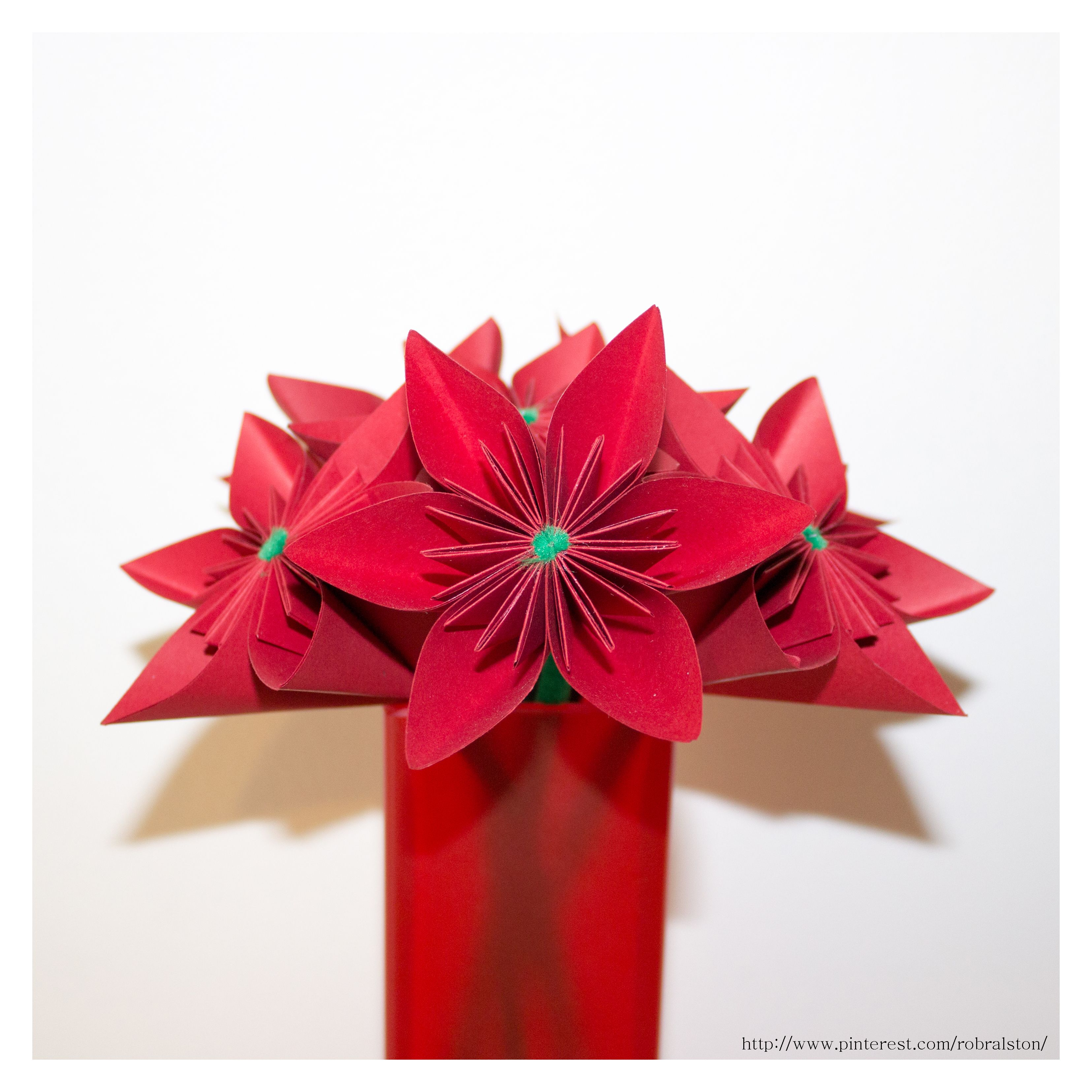 These All Red Origami Flowers Are A Six Petal Version Of The