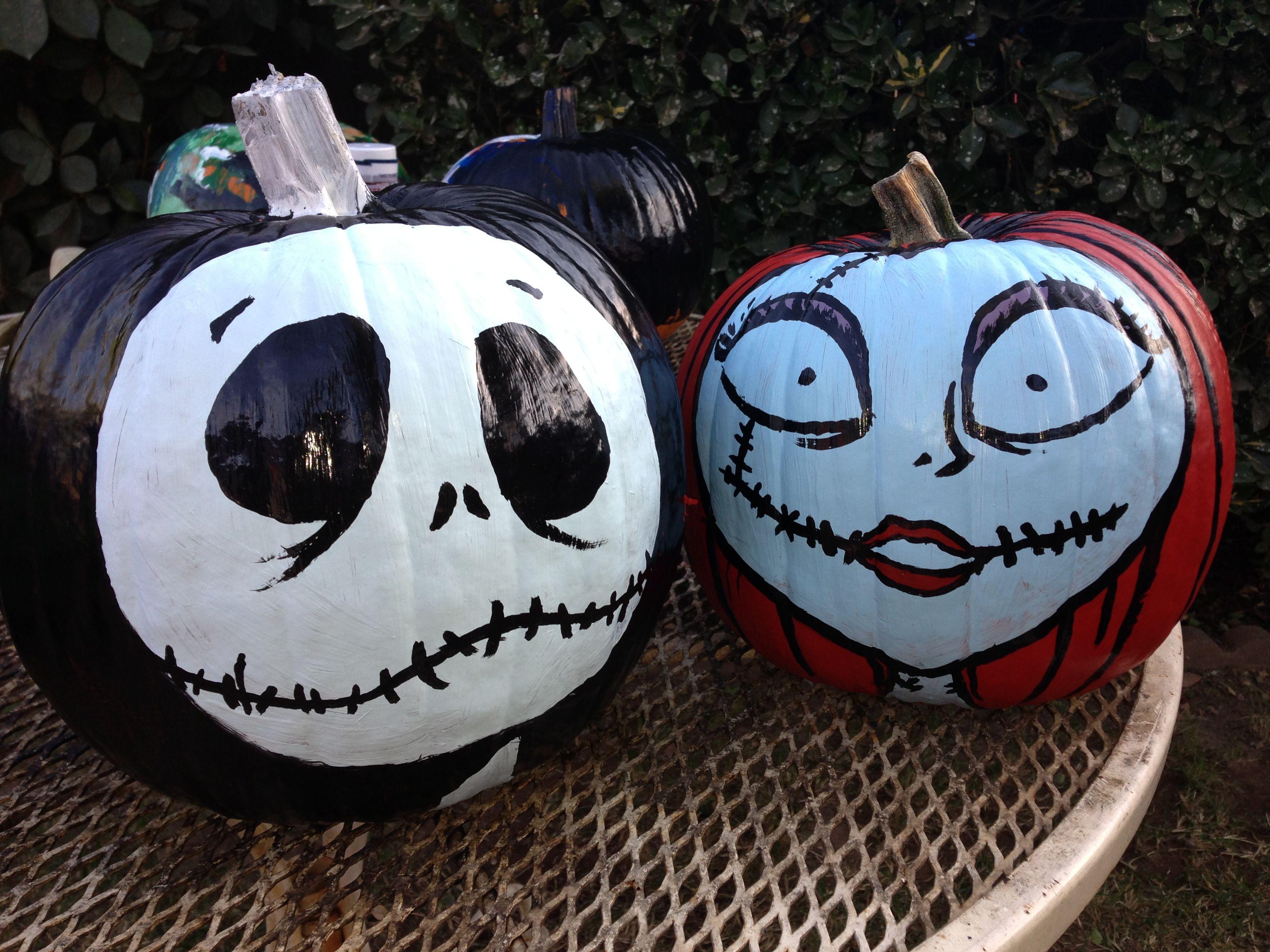 Jack and Sally painted pumpkins Nightmare before