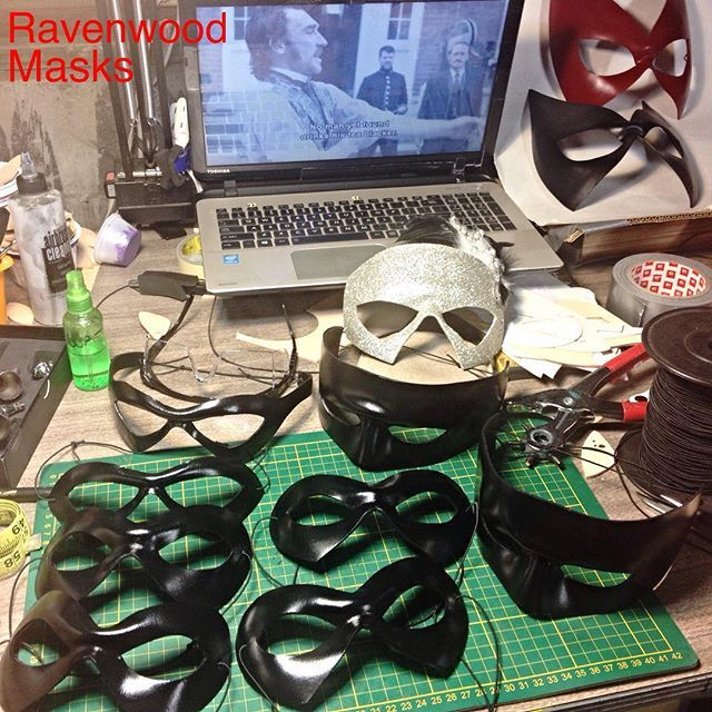 """Yay for Halloween orders. Thank you my clients. You're the best people to work with. I'm so proud to be a part of your cosplays. Popular masks Supermask and Dread Pirate Roberts ready to ship & other lovelies. #RipperStreet on the DVD. """"I am Jedediah Shine no man yet found drinks his tea blacker. """" is there a more British brag? #britishbraggingrights  #cosplay #Con #Conlife #Convention  #halloween #halloweencostume #harleyquinncosplay #leathermask #theprincessbride"""