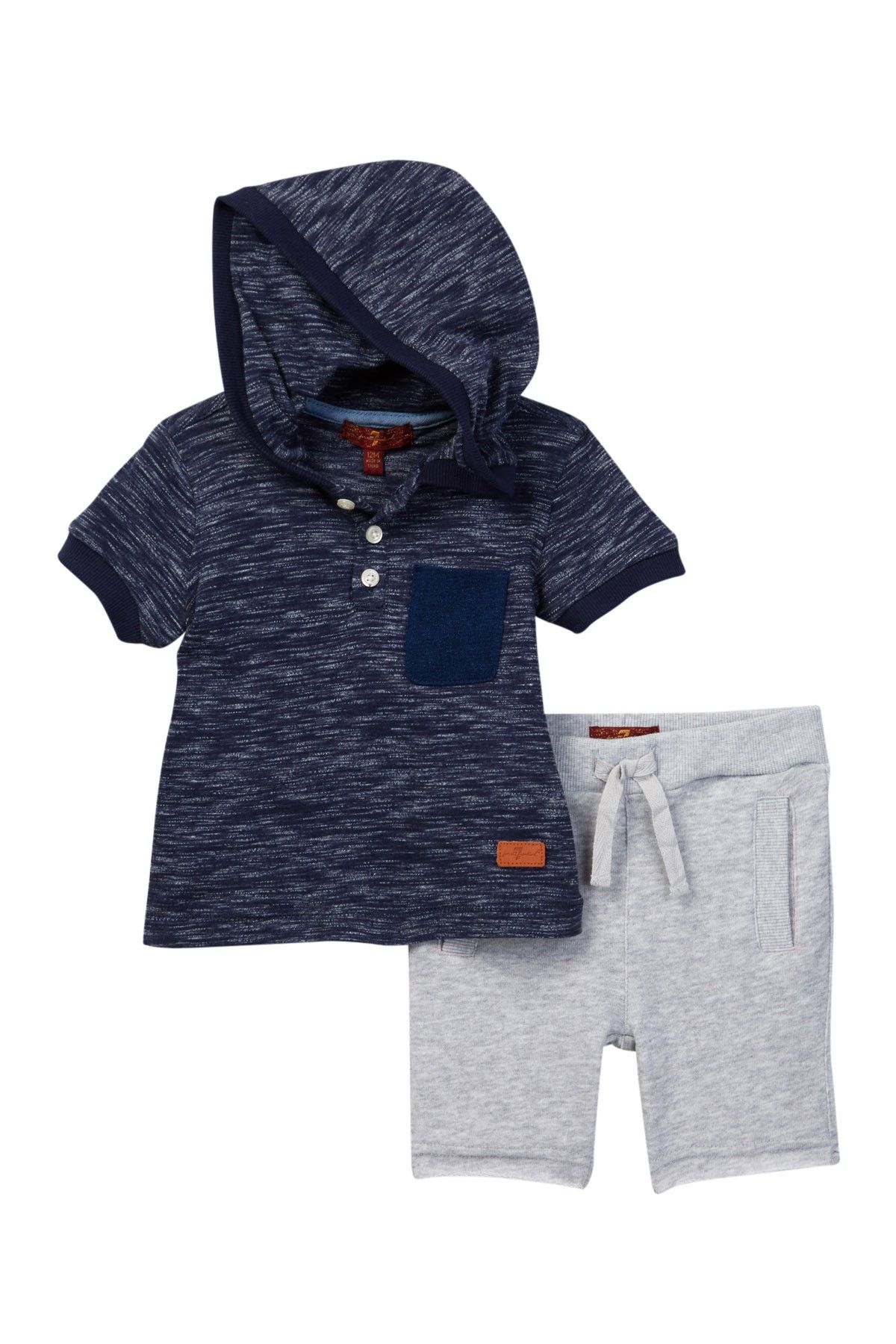 7 For All Mankind Hooded Top & Athletic Short Set (Baby