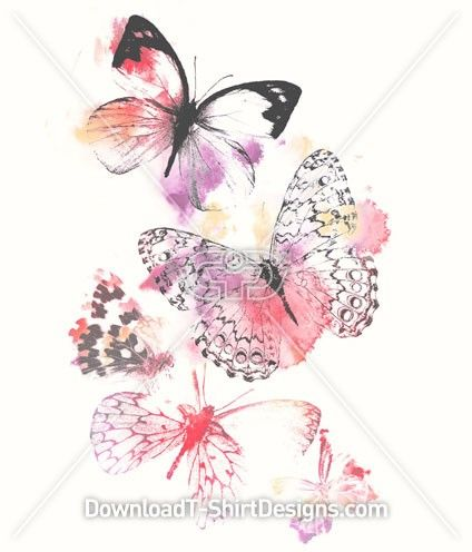 Pretty Watercolour Butterfly Girls T Shirt Designs Butterfly