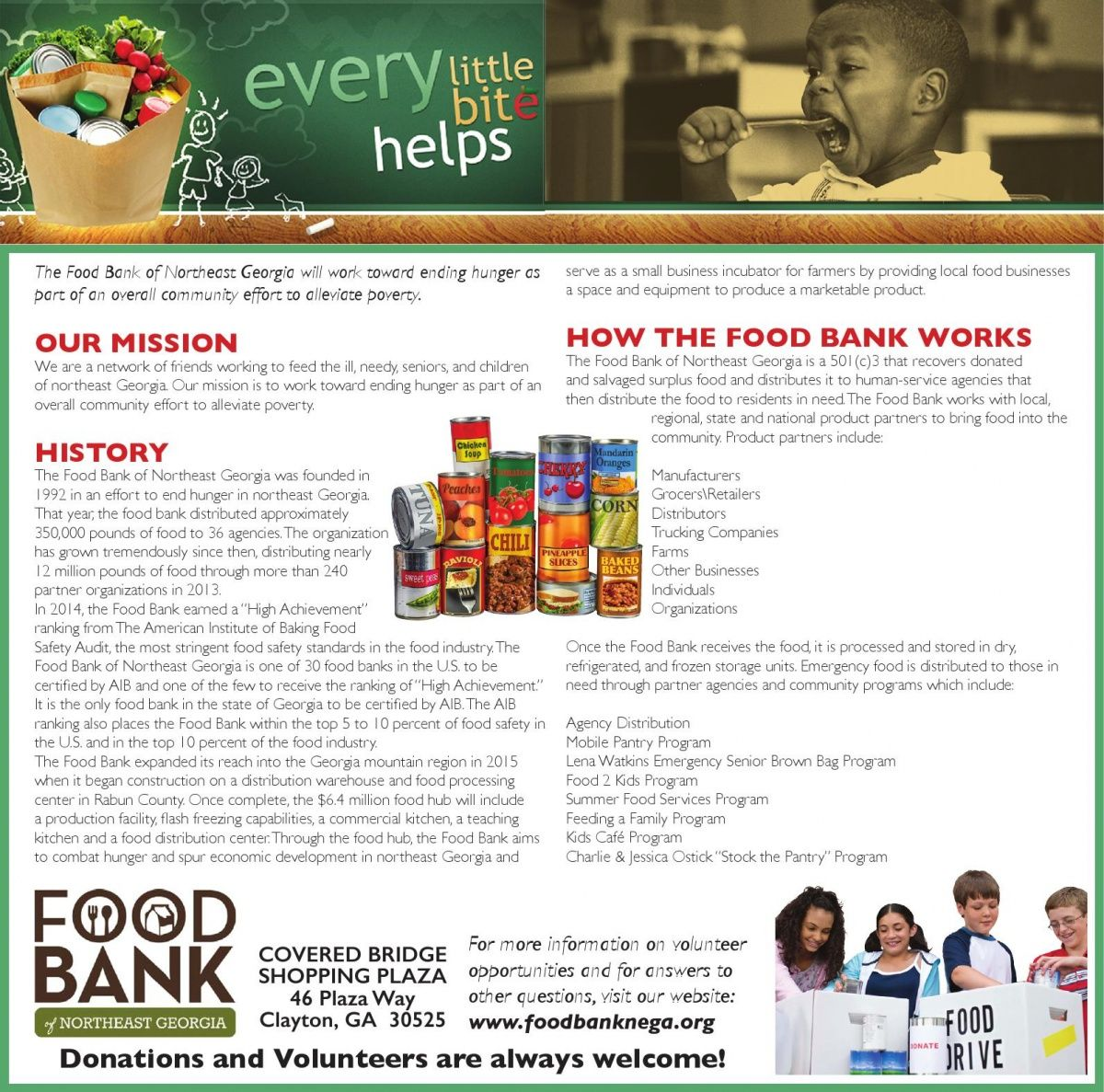 every little bite helps The Food Bank of Northeast