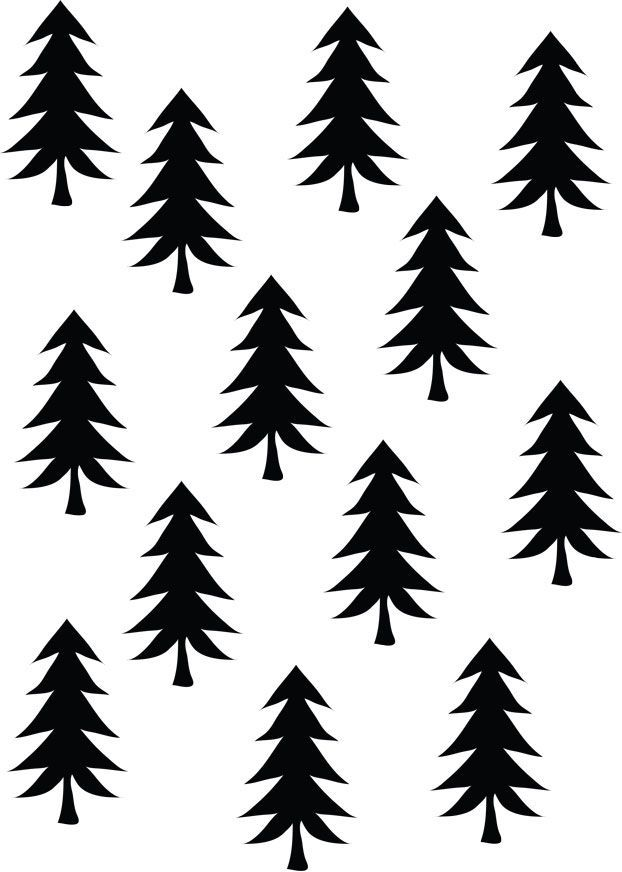 Printable - Free Download - Illustration black white - Patterns - free christmas tree templates