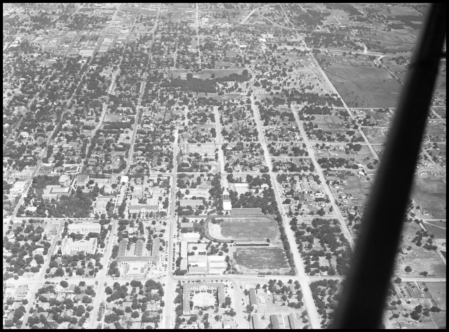 1947 Aerial View of campus. Welch and West Hickory street